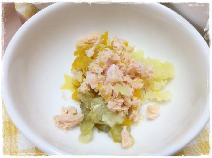 秋鮭と野菜蒸し